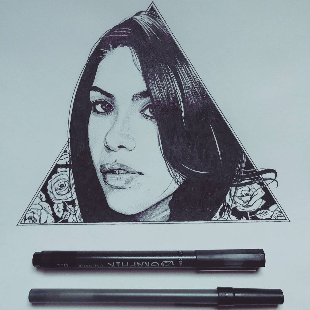 Aaliyah - Ink on paper.